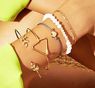 abordables -5pcs Parure Bracelet Femme Classique Forme de Feuille Cœur Ethnique Mode Bracelet Bijoux Dorée pour Cadeau Quotidien Travail