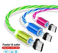 abordables -Micro USB Type-C Câble Magnétique 2.4 A 1.0m (3ft) Luminescent Pour Samsung Xiaomi Huawei Accessoire de Téléphone
