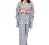 abordables -Tailleur-pantalon Robe de Mère de Mariée  Grande Taille Bijoux Longueur Sol Mousseline de soie Manches Longues avec Dentelle 2021