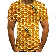 abordables -Homme T-shirt Chemise 3D effet Graphique 3D Rayon de miel Grandes Tailles Manches Courtes Quotidien Hauts Chic de Rue Exagéré Col Rond Bleu Violet Rouge / Eté