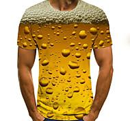 economico -Per uomo Magliette maglietta Stampa 3D Pop art Birra Taglie forti A pieghe Con stampe Manica corta Quotidiano Top Moda città Esagerato Comodo Grande e alto Rosso Giallo Oro