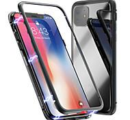 economico -telefono Custodia Per Apple Per retro Custodia ad adsorbimento magnetico iPhone 11 Pro Max SE 2020 X XR XS Max 8 7 6 A calamita Unilaterale Tinta unica Vetro temperato Metallo