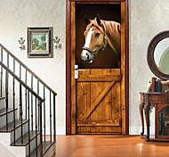 abordables -amazingwall stable 3d cheval porte décor bricolage décoration de la maison placard affiche porte murale papier peint deca
