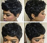 abordables -Mélange de cheveux humains Perruque Court Bouclé Afro Coiffures courtes 2020 Berry Bouclé Afro Nature Noir Perruque afro-américaine Pour Cheveux Africains Fabriqué à la machine Femme Noir Naturel