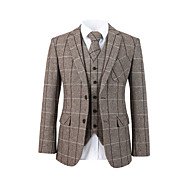 abordables -costume personnalisé en laine tweed à chevrons marron