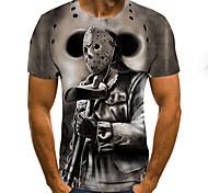 abordables -Homme T-shirt Bande dessinée Bloc de Couleur 3D Imprimé Manches Courtes Quotidien Hauts Chic de Rue Punk et gothique Gris