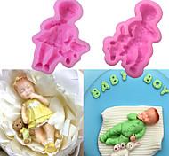 abordables -3d garçon fille silicone moule bébé fête fondant gâteau décoration outils cupcake chocolat cuisson outils
