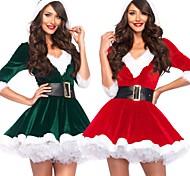 abordables -père Noël Robe Femme Adulte Fête costumée Noël Noël Velours Robe / Ceinture / Ceinture