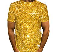 economico -Per uomo maglietta Pop art Astratto Taglie forti A pieghe Con stampe Manica corta Quotidiano Top Moda città Esagerato Oro