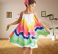 economico -Bambino Bambino (1-4 anni) Piccolo Da ragazza Vestito Fantasia floreale Collage Prendisole Arcobaleno Al ginocchio Senza maniche stile sveglio Dolce Vestitini Giornata universale dell'infanzia