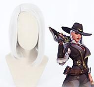 abordables -Overwatch Ashe Perruques de Cosplay Tous 14 pouce Fibre résistante à la chaleur Argent Perruque Anime