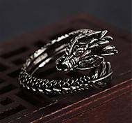 abordables -Anneau ouvert 3D Noir Cuivre Plaqué argent Dragon Précieux unique Mode Rétro Vintage 1 pc Ajustable / Homme / Anneau réglable