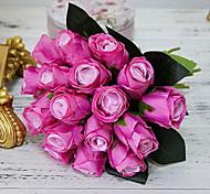 abordables -artificielle rose fleurs simulation rose bouquets de mariage faux floral rose fleur soie fleur main attaché bouquet rouge