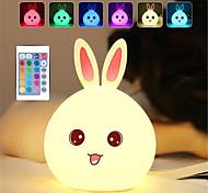 abordables -lapin de dessin animé dozzlor led nuit lumière capteur tactile à distance coloré usb silicone lapin lampe de chevet pour enfants enfants bébé