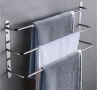 abordables -Porte-serviettes de salle de bain multicouche nouveau design bain en acier inoxydable 3 tiges porte-serviettes mural argenté 1 pc