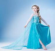 economico -Bambino Piccolo Da ragazza Vestito Tinta unita Fiocco di neve Fiore decorativo Feste Compleanno Pegeant Azzurro Cosplay Da principessa Vestitini Pasqua