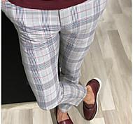 economico -Per uomo Moda città Chino Pantaloni Scozzese a quadri Lunghezza intera Rosso Giallo Grigio