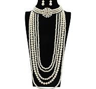 abordables -Femme Perle Nuptiales Parures Classique Fleur Elégant Des boucles d'oreilles Bijoux Blanche Pour Soirée Festival 1 jeu