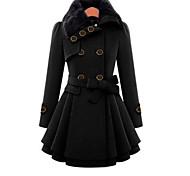 abordables -Femme Couleur Pleine Automne Manteau Longue Quotidien Manches Longues Polyester Manteau Hauts Noir
