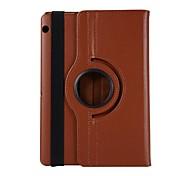 abordables -téléphone Coque Pour Huawei Coque Intégrale Huawei Mediapad T5 10 Rotation à 360 ° Antichoc Avec Support Couleur Pleine faux cuir