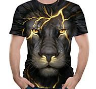 abordables -Homme Tee T-shirt 3D effet Graphique Lion Animal Grandes Tailles Imprimé Manches Courtes Casual Hauts Chic de Rue Exagéré Bleu Violet Rouge / Eté