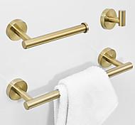 economico -set di accessori da bagno in acciaio inossidabile 3 pezzi include porta accappatoio porta carta igienica e portasciugamani singolo a parete dorato
