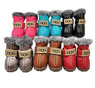 abordables -Chien Chaussures & Bottes Bottes de neige Vêtements pour chiots Couleur Pleine Mode Etanche Garder au chaud Hiver Vêtements pour Chien Vêtements pour chiots Tenues De Chien Gris Noir Rouge Costume