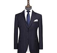 abordables -costume personnalisé en laine à fines rayures bleu marine