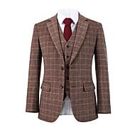 abordables -costume personnalisé en laine tweed rouge à carreaux