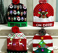 abordables -chapeau de noël led noël père noël chapeaux bonhomme de neige cadeaux nouvel an noël casquette décorations pour la maison