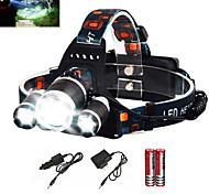 voordelige -Hoofdlampen Fietskoplamp Waterbestendig Oplaadbaar 6000 lm LED emitters 1 Verlichtings Modus inklusive Batterien und Ladegerät Waterbestendig Zoombare Oplaadbaar Super Light Kamperen / wandelen