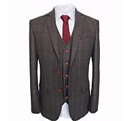 abordables -costume sur mesure en laine à carreaux brun