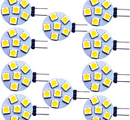 abordables -10 pièces 1.5 W LED à Double Broches 120 lm G4 6 Perles LED SMD 5050 Blanc Chaud Blanc 12 V