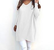 economico -Per donna Tinta unita Pullover Manica lunga Largo Lungo Maglioni cardigan Rotonda Autunno Inverno Bianco Nero Giallo