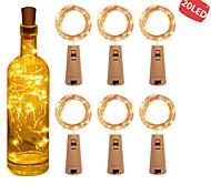 abordables -6pcs 2m 20 leds bouteille de vin lumières avec liège intégré batterie LED forme de liège fil de cuivre argenté coloré fée mini guirlande