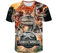abordables -Enfants Bébé Garçon T-shirt Tee-shirts Manches Courtes Dinosaure Créatures Fantastiques Animal Imprimé Enfants Le Jour des enfants Hauts Actif Chic de Rue Noir Violet Vert Véronèse