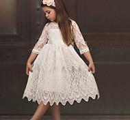 economico -Per bambini Piccolo Da ragazza Vestito Monocolore Bianco Rosso Oro Sopra il ginocchio Mezza manica Vestitini 2-8 anni