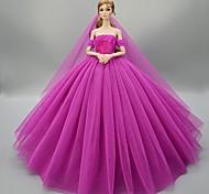 economico -Accessori della bambola Vestiti per le bambole Abito da bambola Principessa Abito da matrimonio Abito da sera Festa / Serata Elegante Matrimonio Da principessa Tulle Pizzo Per la bambola da 11,5