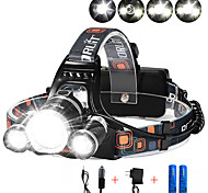abordables -Lampes Frontales Phare Avant de Moto 3000 lm LED 3 Émetteurs 4.0 Mode d'Eclairage avec Piles et Chargeurs Contrôle d'angle Pour Véhicules Ultra léger Camping / Randonnée / Spéléologie Cyclisme Chasse