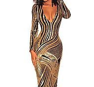 abordables -Femme Robe Fourreau Robe Longueur Genou Dorée Manches Longues Rayé Paillettes V Profond chaud Elégant Sexy S M L XL
