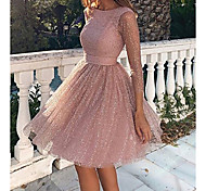 economico -Per donna A ruota Mini abito corto Rosa Manica lunga Tinta unita Schiena scoperta Glitter Abbigliamento Autunno Primavera Rotonda caldo Sensuale 2021 S M L XL XXL