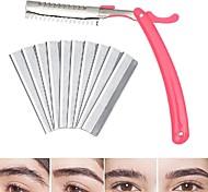 abordables -10pcs / set rasoir à sourcils rétractable avec 10pcs lame en acier inoxydable portable sûr beau shaper à sourcils