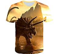 abordables -Enfants Bébé Garçon T-shirt Tee-shirts Manches Courtes Créatures Fantastiques Imprimé Imprimé Enfants Le Jour des enfants Hauts Actif Chic de Rue Kaki