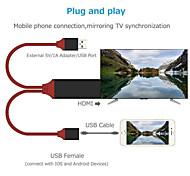 abordables -HDMI Lightning Adaptateur Tout-en-un 1 à 2 Plaqué or 1.0m (3ft) TPE Pour iPhone Accessoire de Téléphone