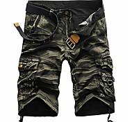 economico -Per uomo Moda città Pantaloncini Carico tattico Pantaloni Mimetico Tinta unica Lunghezza del ginocchio Nero Rosso Verde militare Cachi Verde