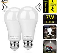 abordables -ZDM Capteurs de mouvement Ampoules 2pcs 7W E27 Induction radar et intelligence lumineuse Ampoule LED crépuscule à l'aube Ampoule de sécurité extérieure / intérieure AC85-265V