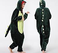 abordables -Adulte Camouflage Pyjamas Kigurumi Tenues de nuit Dinosaure Combinaison de Pyjamas vison de velours Vert Cosplay Pour Homme et Femme Pyjamas Animale Dessin animé Fête / Célébration Les costumes