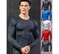 abordables -YUERLIAN Homme Chemise de compression 3D Print Blanche Noir Rouge Bleu Grise Spandex Aptitude Exercice Physique Fonctionnement Tee-shirt Sous Vêtement Grandes Tailles Manches Longues Sport Tenues de