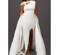 abordables -Trapèze Elégant robe ceremonie Robe Une Epaule Sans Manches Traîne Brosse Satin avec Avant Fendu 2021