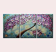 abordables -Peinture à l'huile Hang-peint Peint à la main Panoramique vertical Abstrait Paysages Abstraits Moderne Inclure cadre intérieur / Trois Panneaux